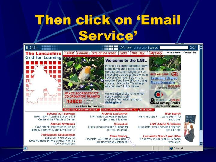 Then click on 'Email Service'
