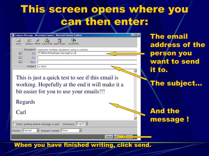 This screen opens where you can then enter: