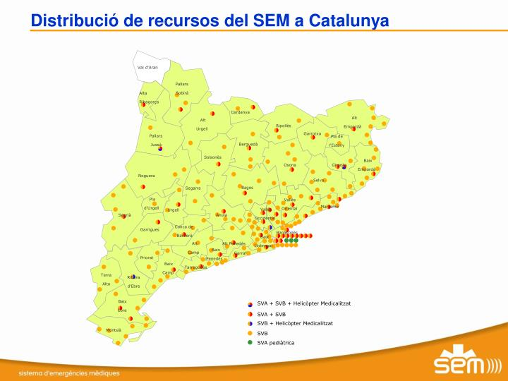 Distribució de recursos del SEM a Catalunya