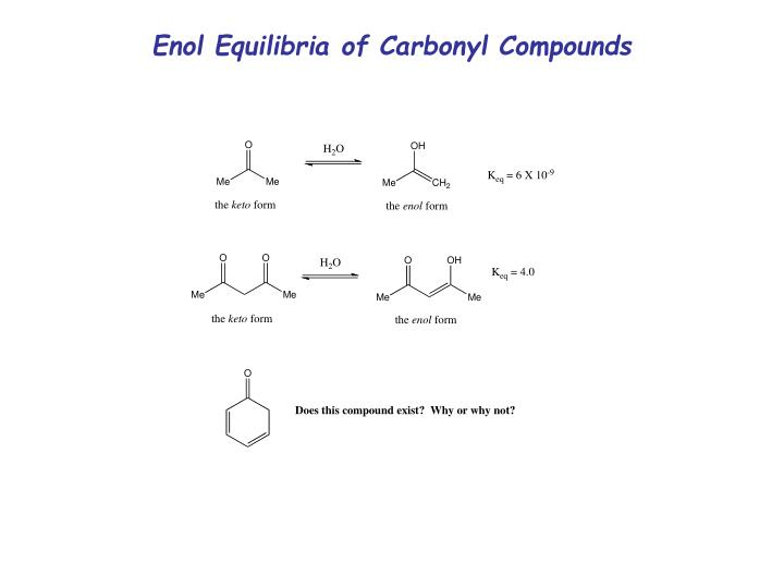 Enol Equilibria of Carbonyl Compounds