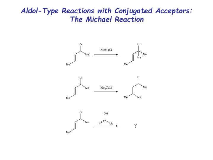Aldol-Type Reactions with Conjugated Acceptors:  The Michael Reaction