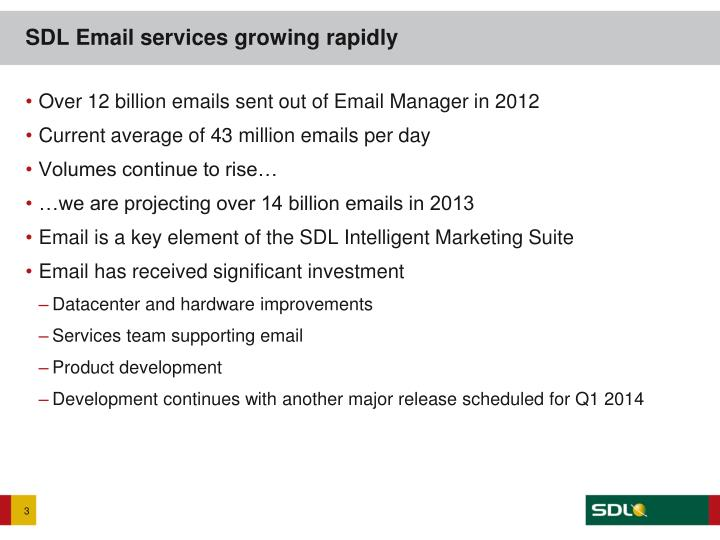 Sdl email services growing rapidly