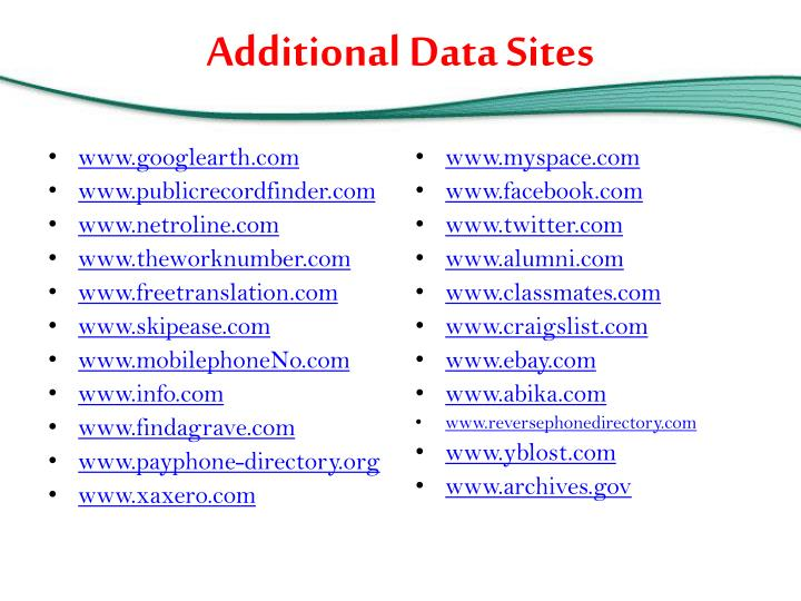 Additional Data Sites