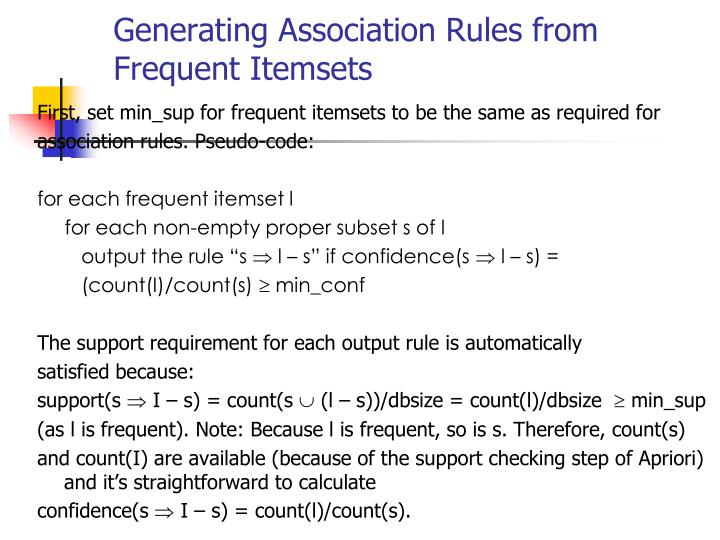 Generating Association Rules from Frequent Itemsets