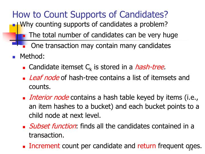 How to Count Supports of Candidates?