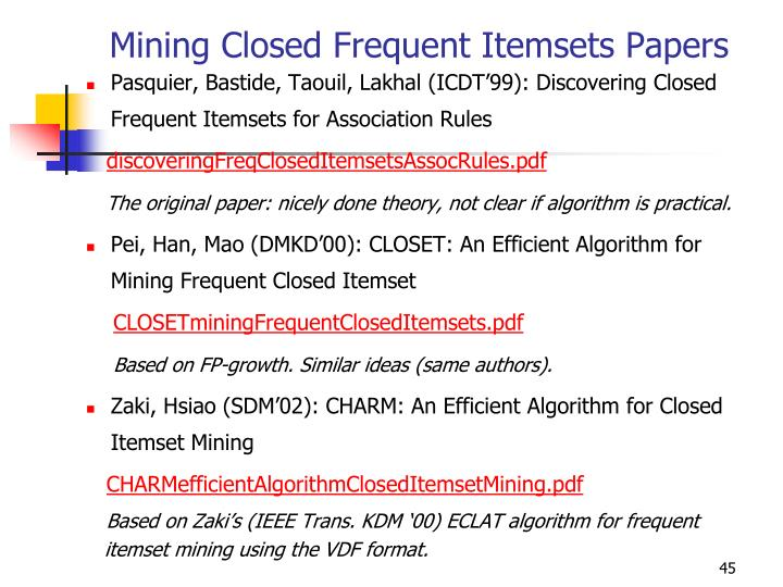 Mining Closed Frequent Itemsets Papers