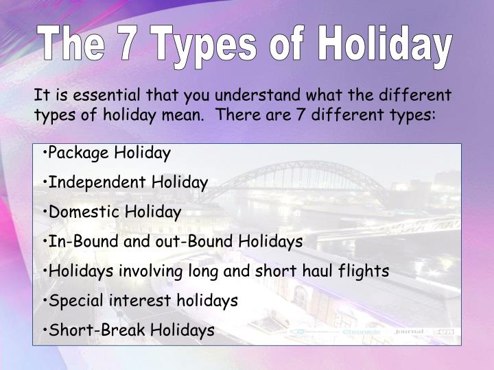 the types of holidays Types of holiday (observance) northern hemisphere winter holidays winter in the northern hemisphere features many holidays that involve festivals and feasts the christmas and holiday season surrounds the christmas and other holidays, and is.