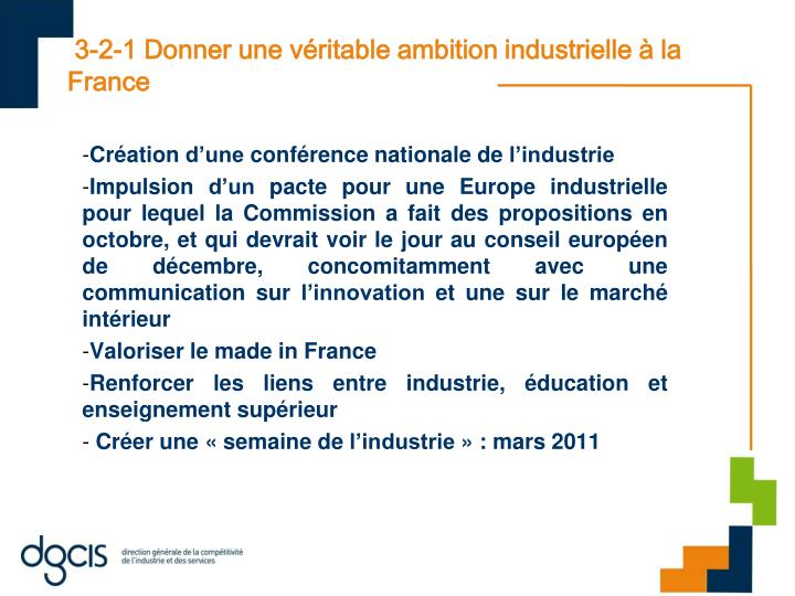 3-2-1 Donner une véritable ambition industrielle à la France
