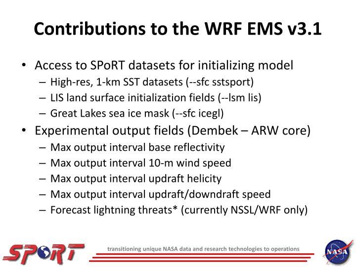 Contributions to the WRF EMS v3.1
