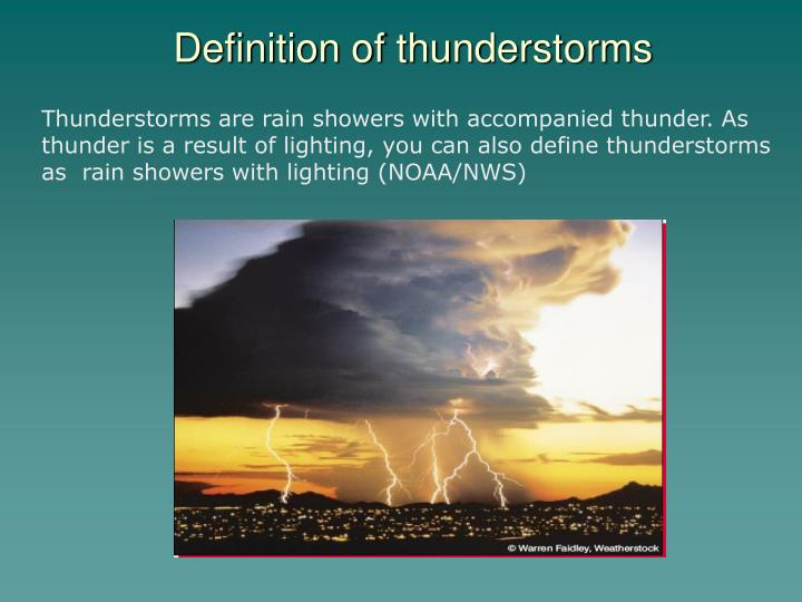 Definition of thunderstorms