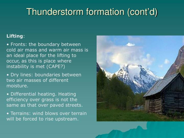 Thunderstorm formation (cont'd)