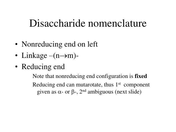 Disaccharide nomenclature