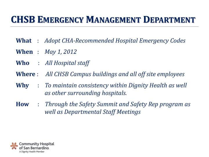 CHSB Emergency Management Department