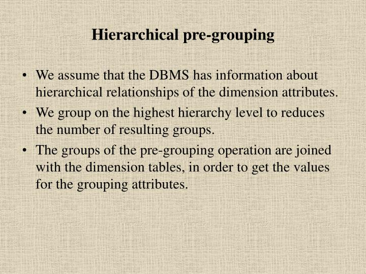Hierarchical pre-grouping