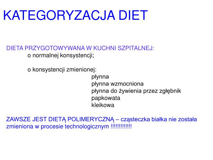 KATEGORYZACJA DIET