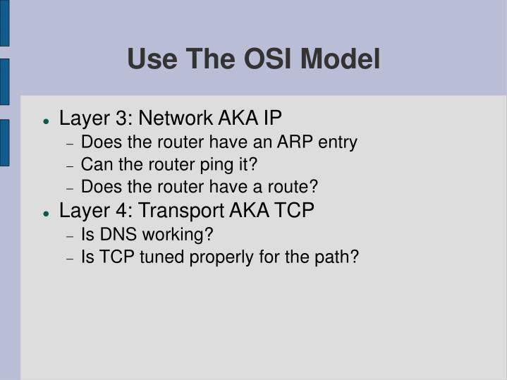 Use The OSI Model