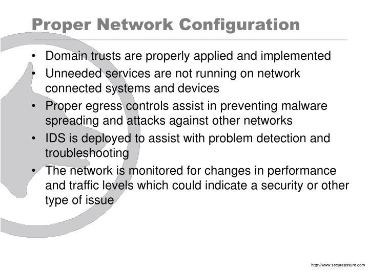 Proper Network Configuration