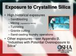 exposure to crystalline silica