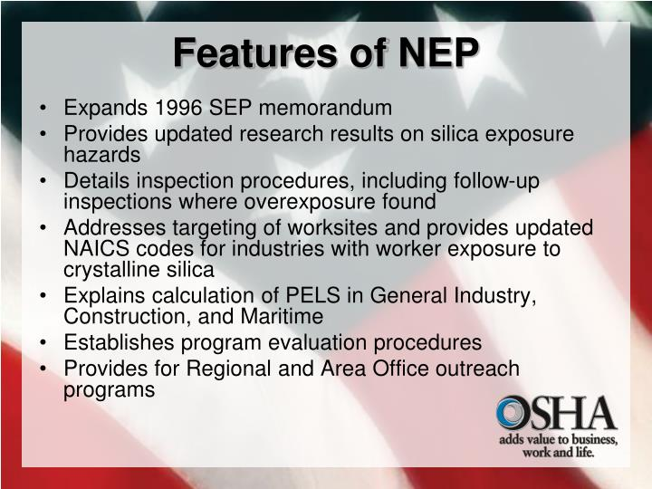 Features of NEP