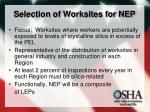 selection of worksites for nep