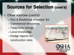 sources for selection cont d