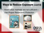 ways to reduce exposure cont d2