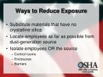 ways to reduce exposure