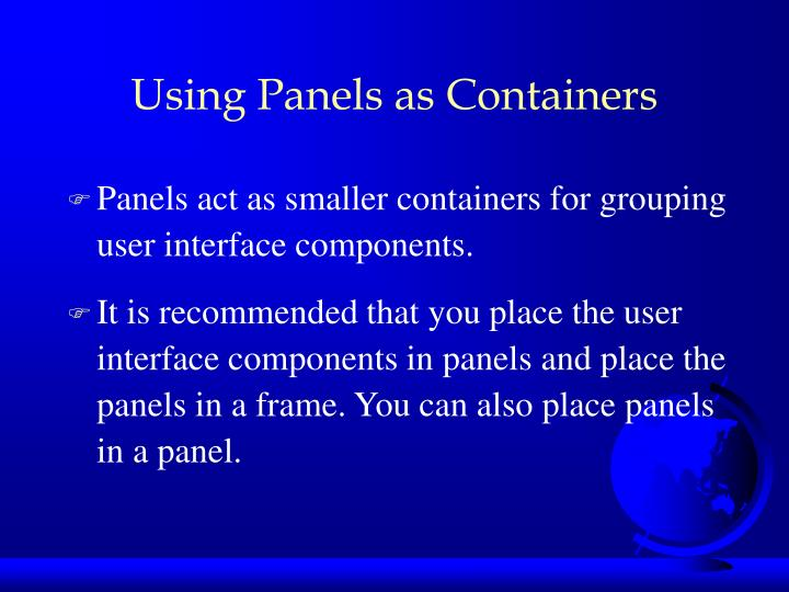 Using Panels as Containers