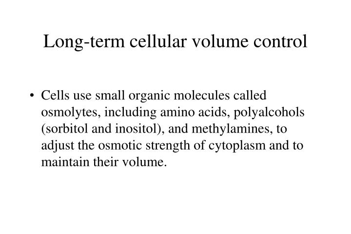 Long-term cellular volume control