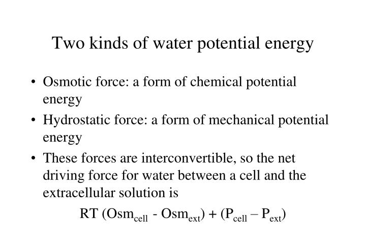 Two kinds of water potential energy