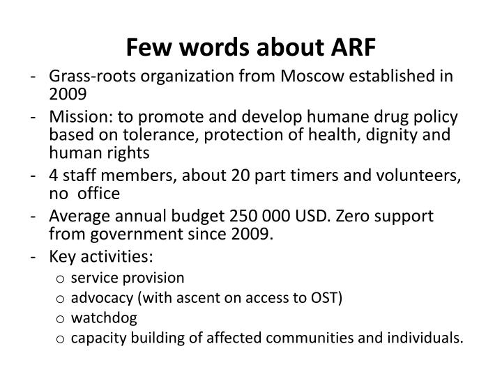 Few words about ARF