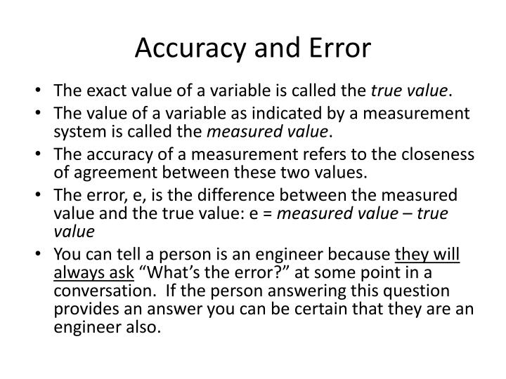 Accuracy and Error