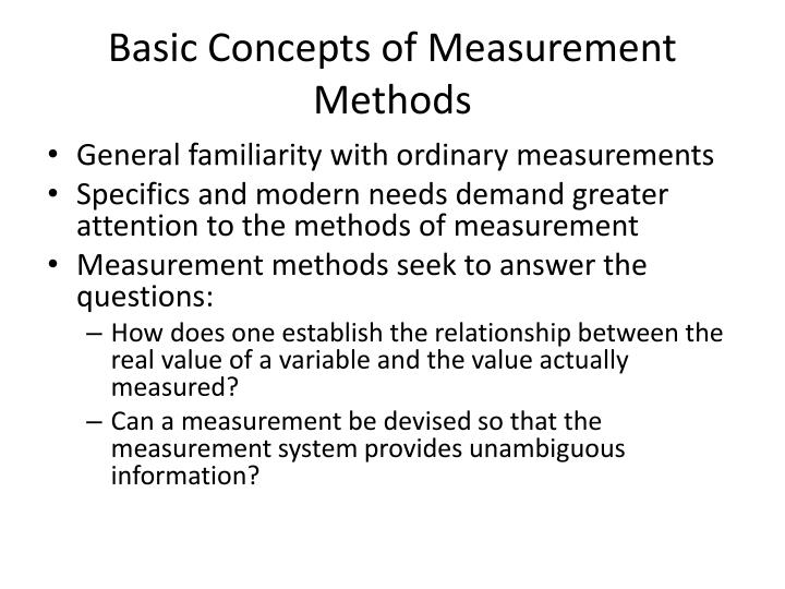 Basic Concepts of Measurement Methods