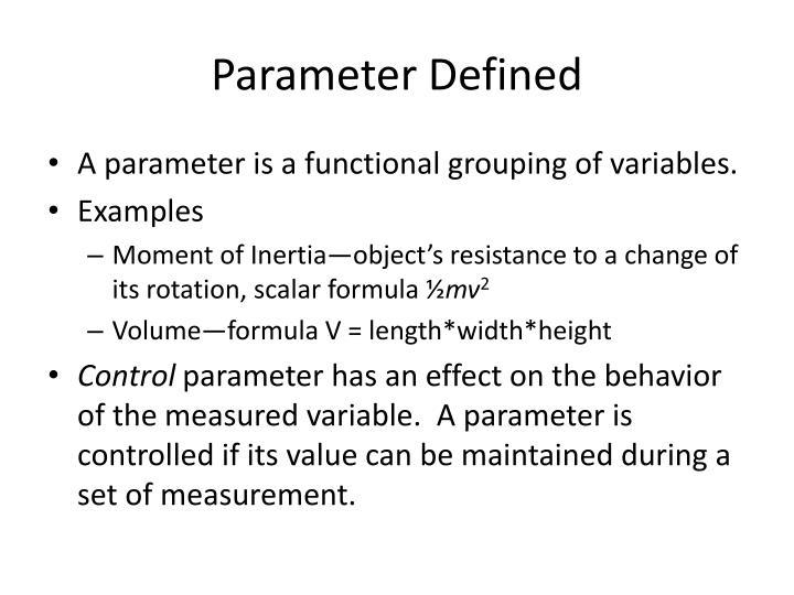 Parameter Defined