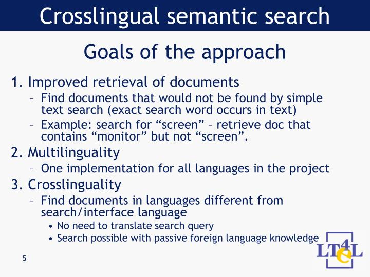 Crosslingual semantic search