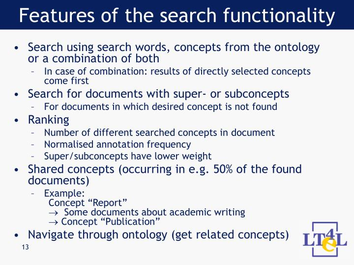 Features of the search functionality
