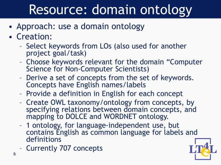 Resource: domain ontology