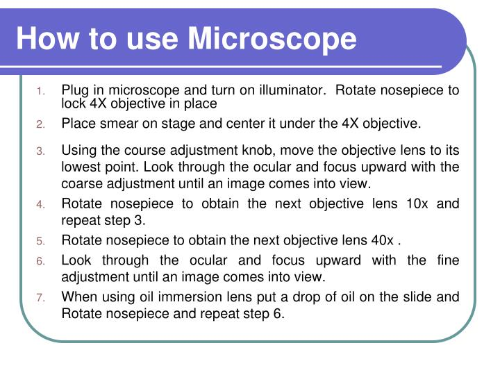 How to use Microscope