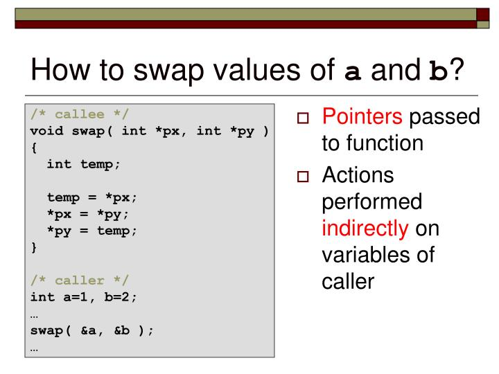 How to swap values of