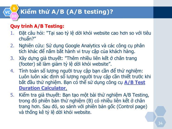 Quy trình A/B Testing: