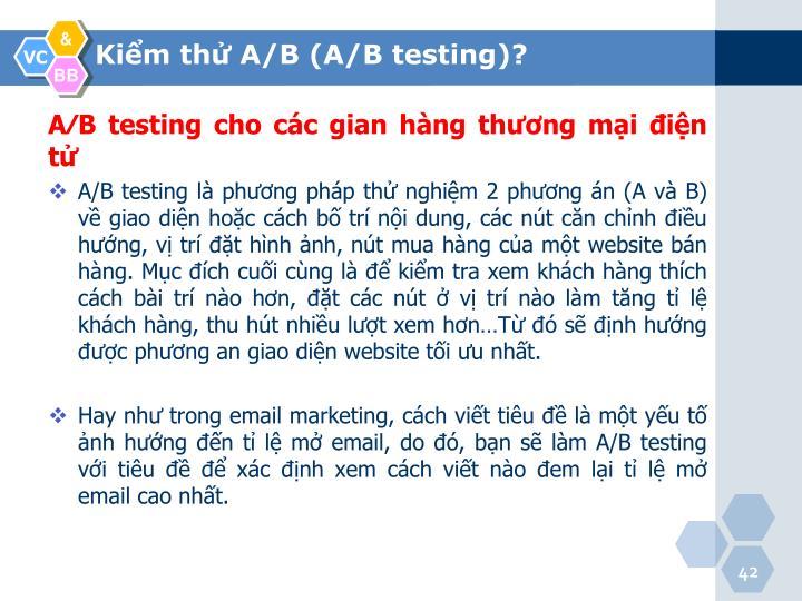 A⁄B testing cho các gian hàng thương mại điện