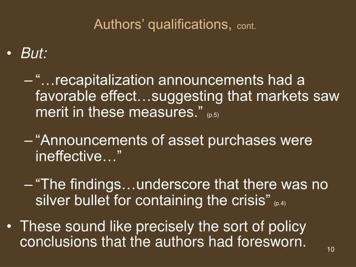 Authors' qualifications,