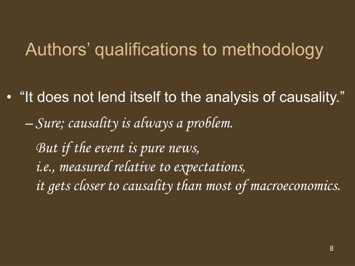 Authors' qualifications to methodology