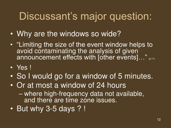 Discussant's major question:
