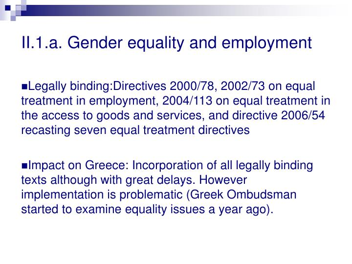 II.1.a. Gender equality and employment