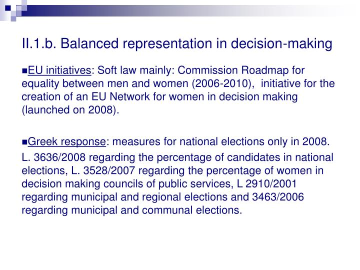 II.1.b. Balanced representation in decision-making