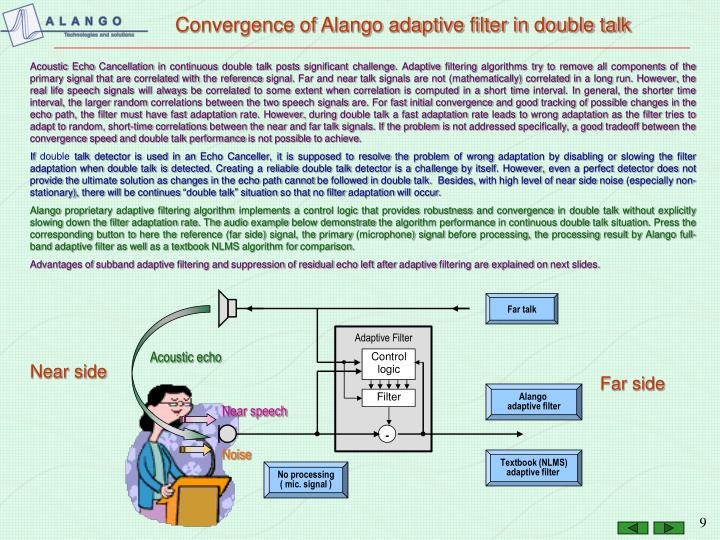 Convergence of Alango adaptive filter in double talk