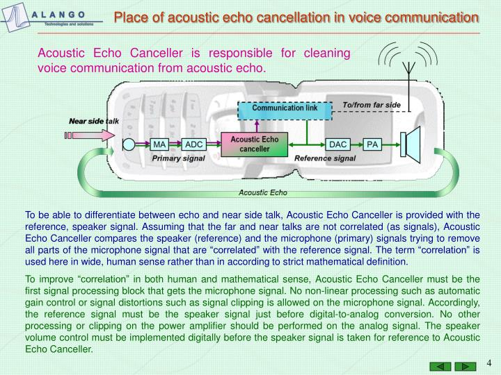 Place of acoustic echo cancellation in voice communication