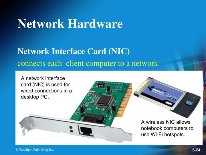 A network interface card (NIC) is used for wired connections in a desktop PC.