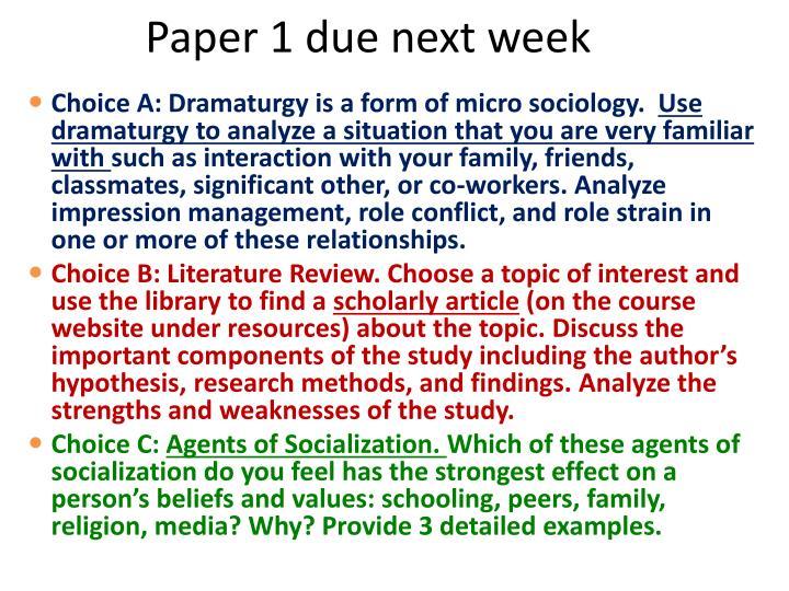 Paper 1 due next week